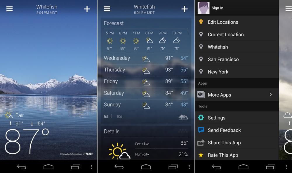 Le migliori applicazioni meteorologiche su Android 1