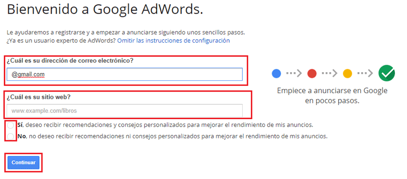 Come creare un account Google Adwords in modo rapido e semplice? Guida passo passo 2