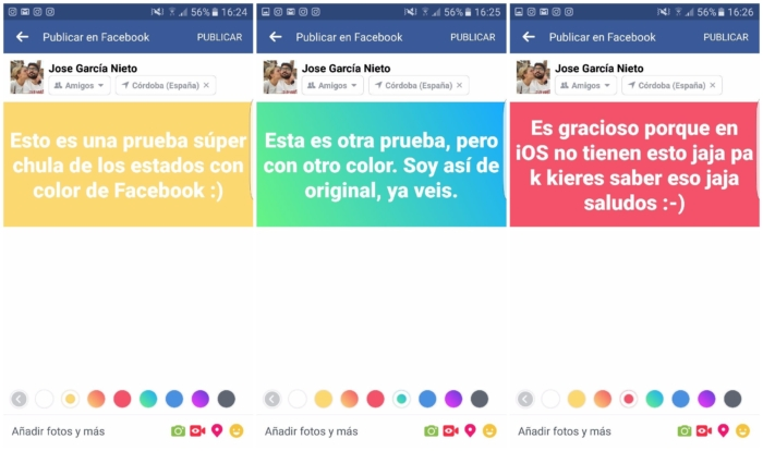 Come mettere gli stati dei colori su Facebook? 1