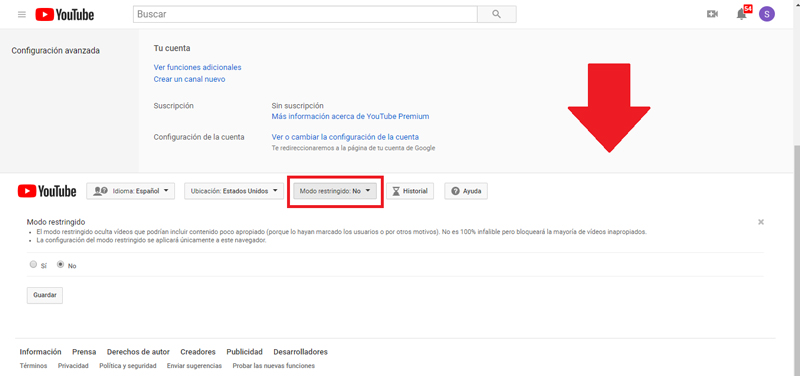 Modalità con restrizioni di YouTube: che cos'è, a cosa serve e come possiamo abilitarlo o disabilitarlo secondo le nostre esigenze? 3