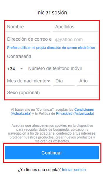 Come creare un account e-mail su Yahoo! Gratis, facile, veloce e in spagnolo? Guida passo passo 3