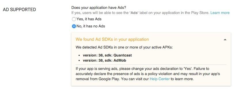 Google Play Store notificherà quali applicazioni hanno annunci 1