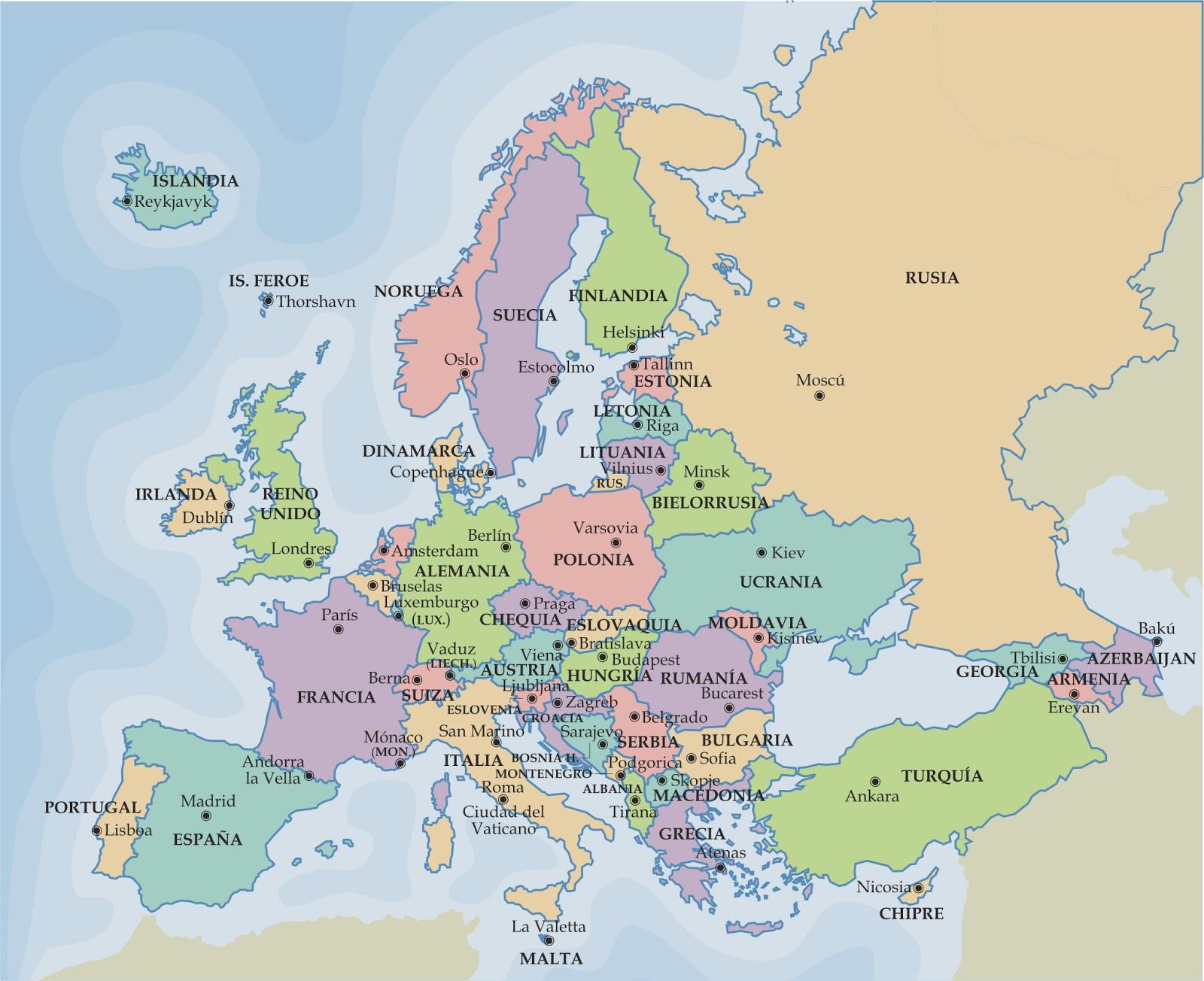 La Cartina Europa.Mappa Politica Online Dell Europa Guardacome Com