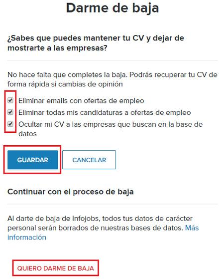 Come eliminare un account Infojobs facile e veloce per sempre? Guida passo passo 5