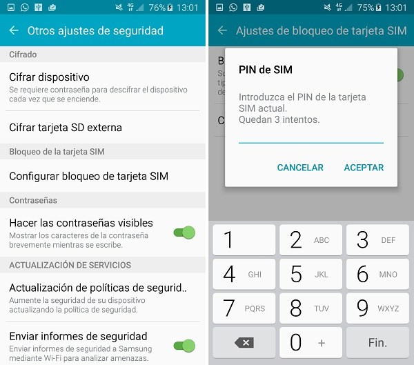 Come modificare il codice PIN su Samsung Galaxy S? 1