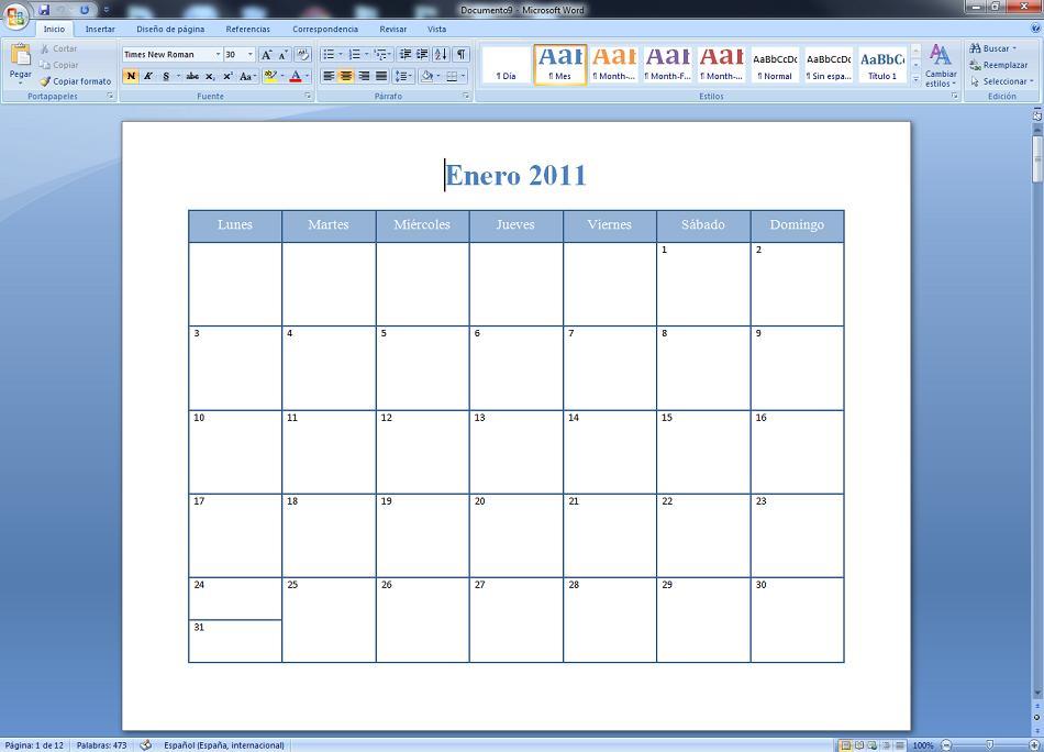 Crea calendario con Word Assistant 2