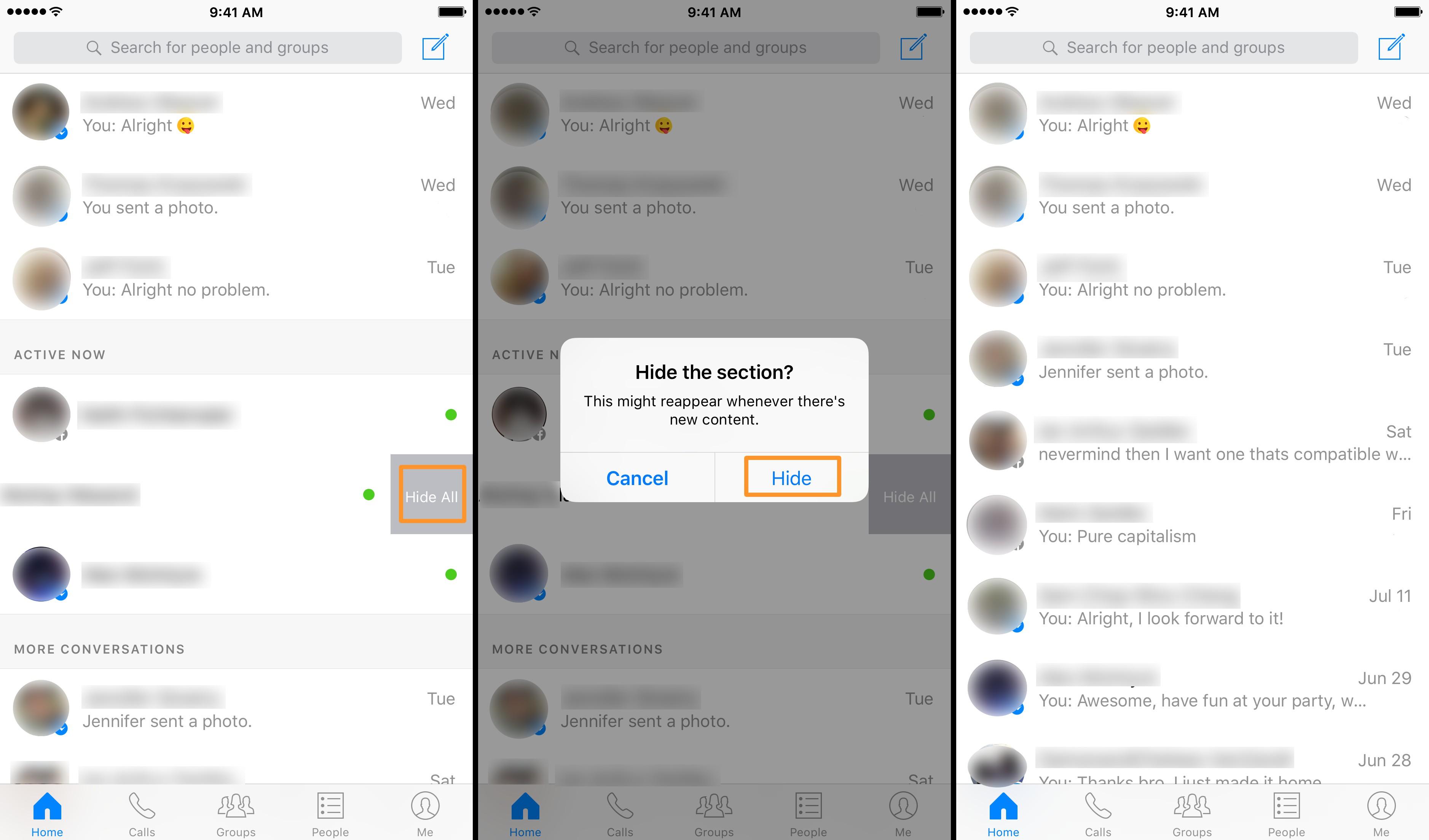 Come nascondere la co-connessione in Facebook Messenger? 1